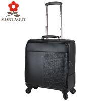 梦特娇英伦风范商务男士皮箱 休闲女士拉杆箱万向轮行李箱旅行登机箱18寸20寸纯牛皮材质