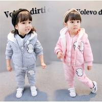 女宝2女童冬装套装2017新款0-1一3岁女5公主男宝宝马甲加绒三件套