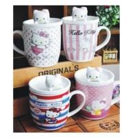 单品包邮 陆捌壹肆 Hello Kitty 陶瓷杯 喝水杯 茶杯 牛奶杯 盖杯 办公杯 随手杯 1个装