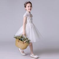 儿童公主裙夏女童演出服蓬蓬裙白色钢琴表演服生日晚礼服花童婚纱