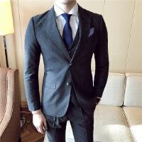 16秋冬韩版青年儒雅灰色磨毛两排扣西装三件套绅士男士西服套装 灰色