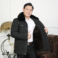 2017冬装中老年人男装棉衣加绒加厚冬季爸爸外套中年棉袄