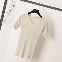 韩国时尚套头打底针织衫潮春季新款修身百搭v领亮丝显瘦毛衣