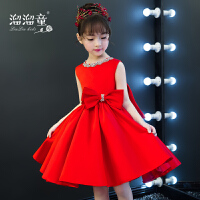 儿童六一走秀演出服短款晚礼服红色蓬蓬裙夏季女童礼服生日公主裙