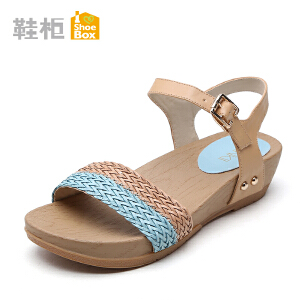 达芙妮集团 鞋柜时尚新款女鞋 甜美拼色坡跟凉鞋中跟罗马鞋
