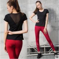 拼接短袖运动服速干长裤两件套瑜伽服健身房女弹力含胸垫
