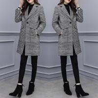 呢大衣女加厚2018秋冬新款女装千鸟格子中长款呢子大衣显瘦气质大码毛呢外套女 千鸟格