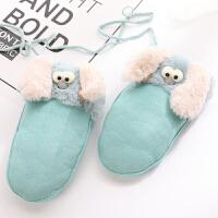 韩版冬季女童小孩保暖中小童可爱顽皮3-8岁连指手套宝宝男童卡通毛绒