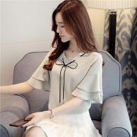 雪纺衫短袖女2018新款夏季韩版V领上衣宽松蝴蝶结衬衫