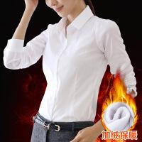 加绒衬衫女长袖职业保暖冬2018春装新款韩版加厚纯棉工作服白衬衣 白色 加绒 抗皱