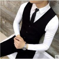 �n�^男士西�b�R甲春夏新款2017�n版潮修身坎肩�R�A男背心外套西服�R甲 黑色 限量款 X