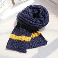 毛线围巾女冬季学生软妹ins百搭情侣针织长款保暖围脖男