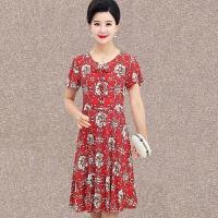 中老年女装新款妈妈装夏装短袖连衣裙中年人4050岁修身女夏装裙子