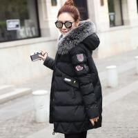 冬季新款羽绒女学生外套韩版大码女装中长款加厚修身棉袄 M 建议105斤以下