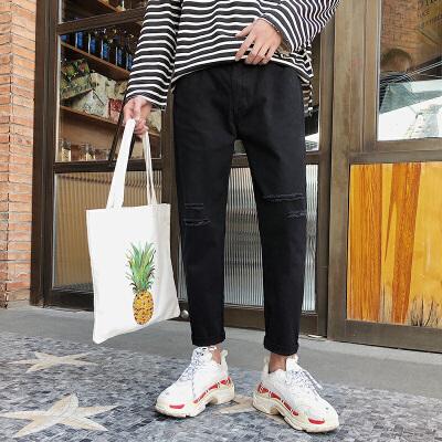 夏季新款男士牛仔裤个性潮流韩版学生破洞修身小脚九分裤 发货周期:一般在付款后2-90天左右发货,具体发货时间请以与客服协商的时间为准
