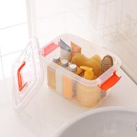 手提化妆品收纳盒 塑料透明内衣整理箱小号手提式游泳箱洗漱用品筐 透明 10L 27*18*17厘米