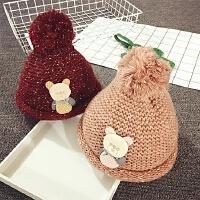 儿童帽子女童毛线帽冬季加厚护耳帽男宝宝帽子1-2岁针织帽保暖潮