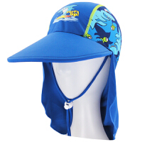 时尚儿童泳帽护颈帽防晒沙滩度假遮阳帽锦氨纶印花泳帽男童   可礼品卡支付