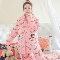 孕妇睡衣月子服冬季三层加厚夹棉保暖珊瑚绒产妇喂奶哺乳衣家居服