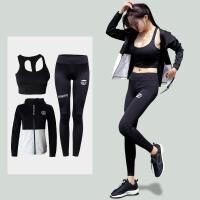 韩版新款健身服跑步运动速干宽松冬季瑜伽套装女长袖加厚外套 黑白外套+黑文胸+黑裤 三件套