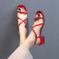 户外罗马凉鞋女中跟ins百搭粗跟仙女风配长裙的鞋子