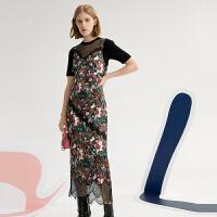 【超值一口价:279】LILY 女装花卉蕾丝拼接吊带两件套连衣裙