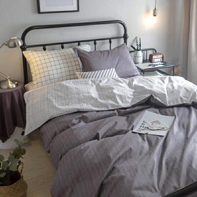 大学0.9米床上三件套男生纯棉床品单人床单被罩寝室90cm宿舍被套 高密棉 纹