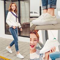 毅雅小白鞋女鞋平底系带韩版时尚百搭休闲鞋学生白色透气单鞋子YD7PP1471