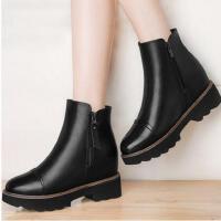 雅诗莱雅新款秋冬季加绒女靴子内增高女鞋韩版百搭坡跟短靴厚底马丁靴