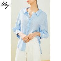 【限时一口价229元】全场叠加100元券 Lily2019新款双层荷叶领蓝条纹宽松七分袖衬衫女119240C4139
