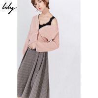 Lily冬新款女�b�赓|�杉�套V�I���_衫�L款�B衣裙7953