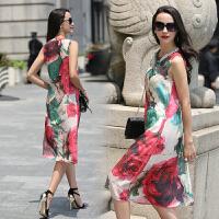 真丝连衣裙无袖优雅韩版宽松气质修身显瘦中长款甜美年夏季 图片色
