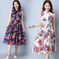 复古女装夏季新款绑带V领花布无袖连衣裙中长裙