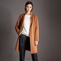 【领券满1000减700】Amii极简欧美风气质手工100%羊毛毛呢外套女2018冬新款双面呢大衣
