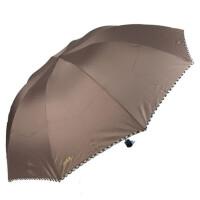 天堂伞 33398E碰色织加大三折晴雨伞双人伞一甩干商务伞