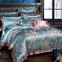 伊迪梦家纺 奢华仿真丝贡缎提花绣花蕾丝花边家纺床上用品四件套 可配婚庆六件套大规格床xw101