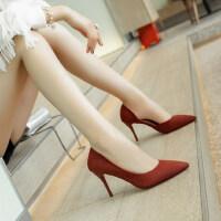 绒面尖头浅口单鞋优雅高跟细跟套脚纯色侧空高跟职业女鞋