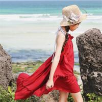 2018新款童装女童连衣裙夏中大童度假公主裙韩版女孩海边沙滩裙子