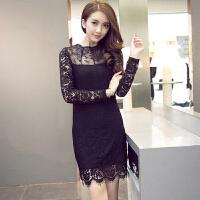 秋季长款打底衫女长袖蕾丝上衣时尚新款网纱女士打底衫中长款 3#黑色 现货