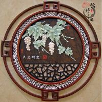 天然玉雕画挂屏壁画装饰画客厅背景墙实木浮雕画石雕圆形挂件