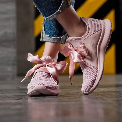 361女鞋网面运动鞋2018春季樱花粉色跑鞋361度蝴蝶结跑步鞋女透气