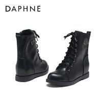 Daphne/达芙妮冬季女短靴圆头内增高系带马丁靴