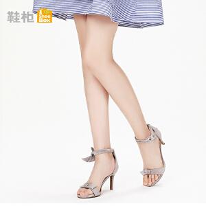 达芙妮集团 鞋柜18夏优雅纯色蝴蝶结系带细高跟脚腕绊带凉鞋