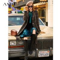 【到手价:378元】Amii极简英伦风格子毛呢外套2019新冬装女翻领长款复古直筒大衣