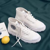 高帮帆布鞋男夏季百搭马丁靴男中帮学生休闲鞋白色板鞋透气鞋子男