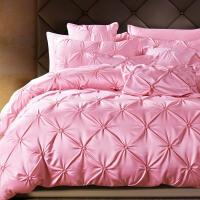 欧式贡缎天丝四件套全棉纯棉冰丝绸缎被套床单1.5M1.8米2.0床 粉红色 莫妮卡-粉色