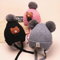 宝宝帽子秋冬3-6-12个月加绒护耳帽毛球男女毛线帽冬季婴儿帽子