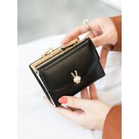 户外小钱包女短款折叠韩版可爱学生小清新兔子零钱包卡包