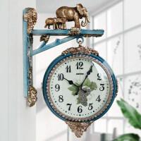 欧式大气双面挂钟客厅静音石英钟表创意家用挂表时尚个性时钟 FAB8116-81 带象(裂纹陶瓷蓝) 16英寸(直径40.