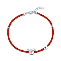 JG本命年女鼠年饰品红绳手链女925纯银手绳简约送女友圣诞礼物 鼠来宝红绳手链